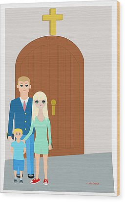 Modern Church Family Wood Print