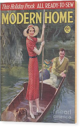 Modern Home 1930s Uk   Punting Boats Wood Print by The Advertising Archives