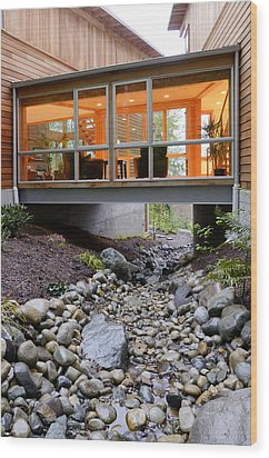 Modern House Over Rocky Creek Wood Print by Will Austin