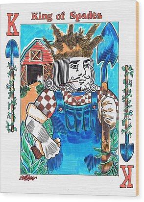 Modern King O' Spades Wood Print by Seth Weaver