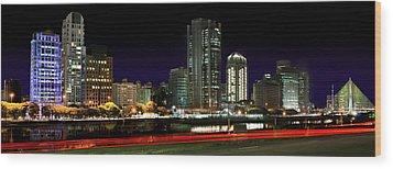 Modern Sao Paulo Skyline Near Brooklin District And Stayed Bridge Wood Print