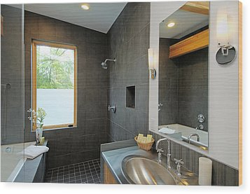 Modern Shower And Sink Wood Print by Will Austin