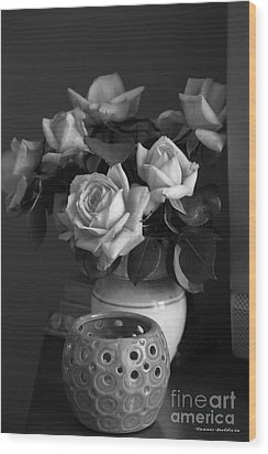 Wood Print featuring the photograph Modern Still Life Bw by Tannis  Baldwin