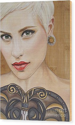 Wood Print featuring the painting Modern Warrior Beauty by Malinda  Prudhomme