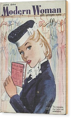 Modern Woman 1944 1940s Uk Womens Wood Print by The Advertising Archives