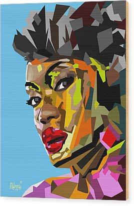 Wood Print featuring the digital art Modern Woman by Anthony Mwangi