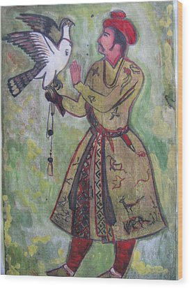 Wood Print featuring the painting Moghul With Eagle by Vikram Singh