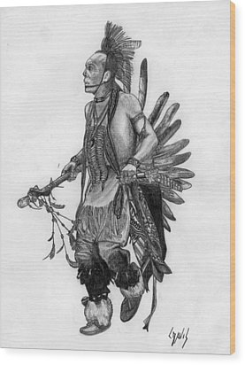 Mohawk Dancer Wood Print by Lew Davis
