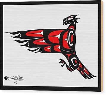 Mohawk Eagle Red Wood Print by Speakthunder Berry