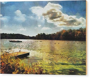 Mohegan Lake Gold Wood Print by Derek Gedney