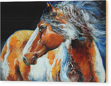 Mohican The Indian War Pony Wood Print by Marcia Baldwin