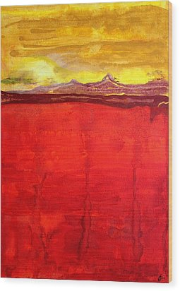 Mojave Dawn Original Painting Wood Print by Sol Luckman