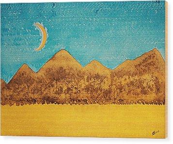 Mojave Moonrise Original Painting Wood Print by Sol Luckman