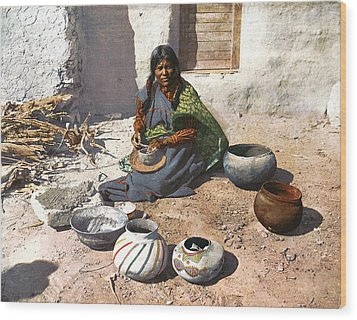 Moki Indian Potter 1899 Wood Print by Unknown