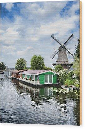 Molen Van Sloten And River Wood Print