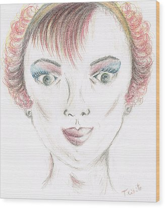 Wood Print featuring the drawing Mollys Makeover/ Pink Day by Teresa White