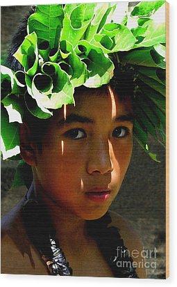 Molokai Keiki Kane Wood Print by James Temple