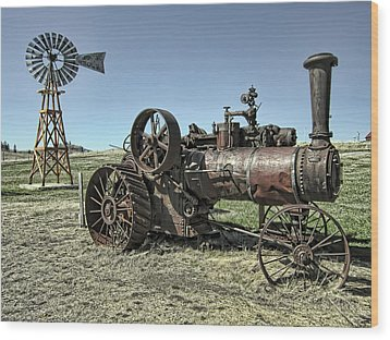 Molson Washington Ghost Town Steam Tractor And Wind Mill Wood Print by Daniel Hagerman