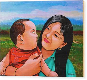Wood Print featuring the painting Mom And Babe by Cyril Maza