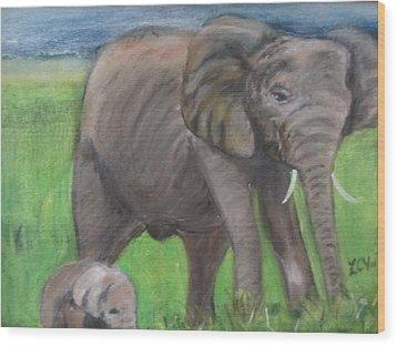 Mom And Baby In Kenya Wood Print