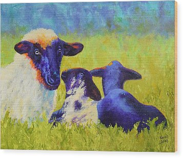 Mom And The Kids Wood Print by Nancy Jolley