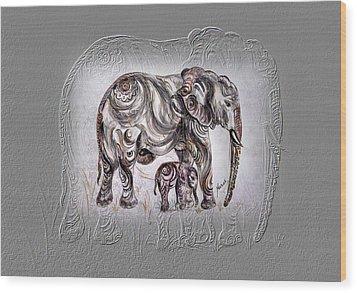 Mom Elephant Wood Print