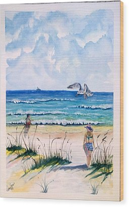 Wood Print featuring the painting Mom Son Beach by Richard Benson