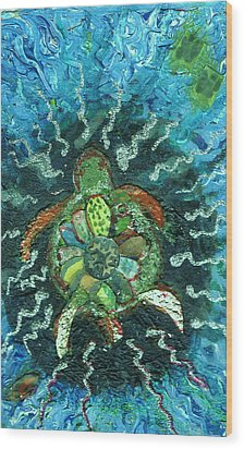 Mom There Is A Turtle In The Swimming Pool  Wood Print by Anne-Elizabeth Whiteway