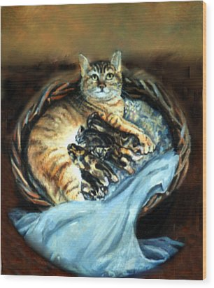 Wood Print featuring the painting Mom With Her Kittens by Donna Tucker