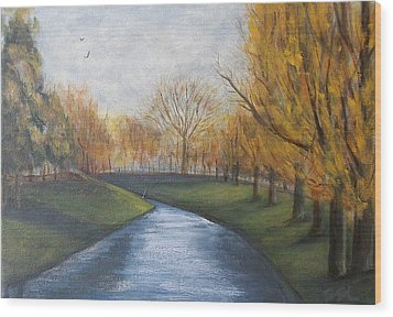 Wood Print featuring the painting Moment Of Silence Avon River Christchurch by Jane  See