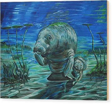 Momma Manatee Wood Print by Steve Ozment