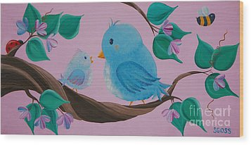 Mommy-baby Birds Wood Print