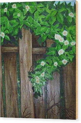 Mom's Backyard Cedar Fence Wood Print by Jan Wendt