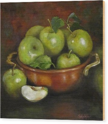Wood Print featuring the painting Mom's Last Apple Harvest by Cheri Wollenberg