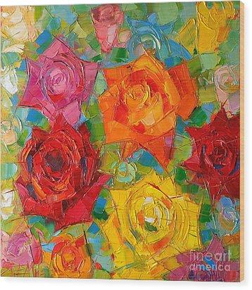 Mon Amour La Rose Wood Print