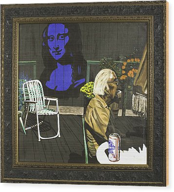 Wood Print featuring the painting Mona Lisa On The Patio by Herb Van de Eau
