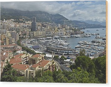 Wood Print featuring the photograph Monaco Harbor by Allen Sheffield