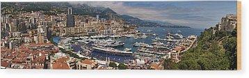 Monaco Panorama Wood Print by David Smith