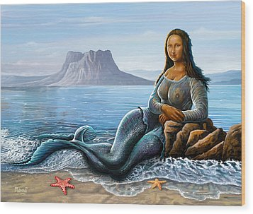 Wood Print featuring the digital art Monalisa Mermaid by Anthony Mwangi