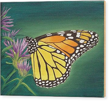 Wood Print featuring the painting Monarch And Liatris by Fran Brooks