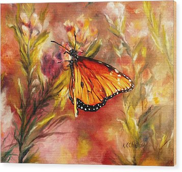Wood Print featuring the painting Monarch Beauty by Karen Kennedy Chatham