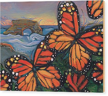 Monarch Butterflies At Natural Bridges Wood Print