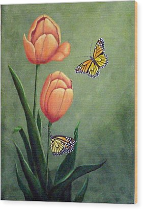 Monarchs And Golden Tulips Wood Print