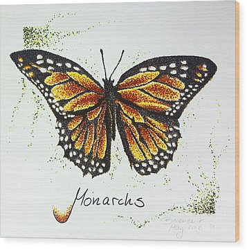 Monarchs - Butterfly Wood Print by Katharina Filus