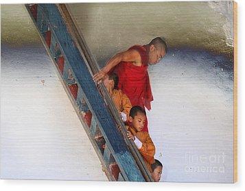 Wood Print featuring the digital art Monastery In Bhutan by Angelika Drake