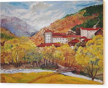 Wood Print featuring the painting Monastery by Nina Mitkova