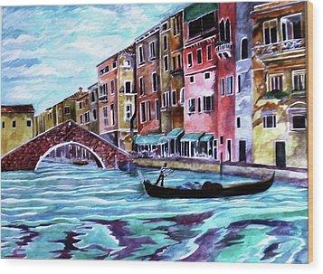 Monday In Venice Wood Print