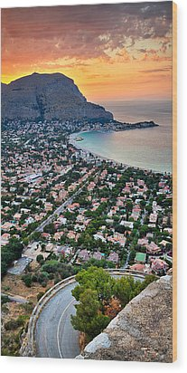 Mondello Beach Sunset Wood Print by Viacheslav Savitskiy