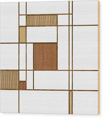 Mondrian In Wood Wood Print