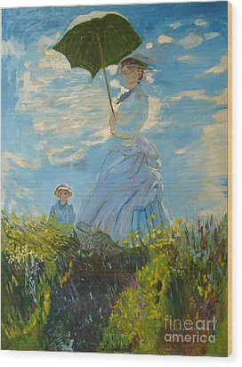 Monet-lady With A Parasol-joseph Hawkins Wood Print